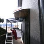 Xモデルブラウンボードポリカーボネート施工事例後付け庇専門店ひさしっくす