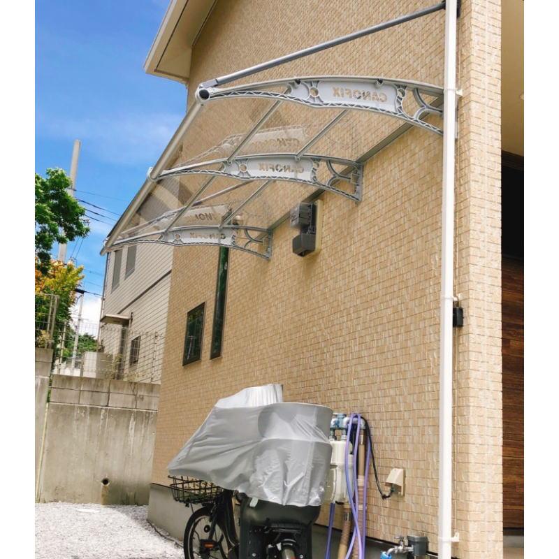 自転車置き場の施工事例ケノフィックスモデル1200クリア×グレー後付け庇専門店ひさしっくす
