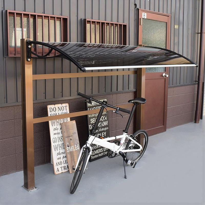 自転車置き場の施工事例rufrufモデル182ブラウン×ブラック後付け庇専門店ひさしっくす